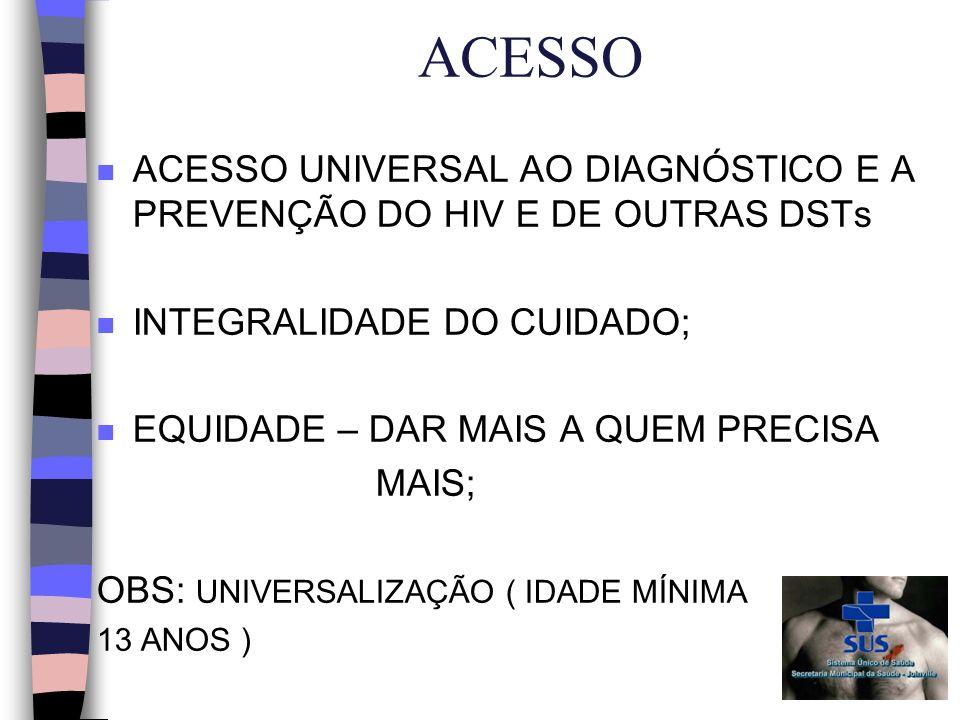 ACESSO n ACESSO UNIVERSAL AO DIAGNÓSTICO E A PREVENÇÃO DO HIV E DE OUTRAS DSTs n INTEGRALIDADE DO CUIDADO; n EQUIDADE – DAR MAIS A QUEM PRECISA MAIS; OBS: UNIVERSALIZAÇÃO ( IDADE MÍNIMA 13 ANOS )