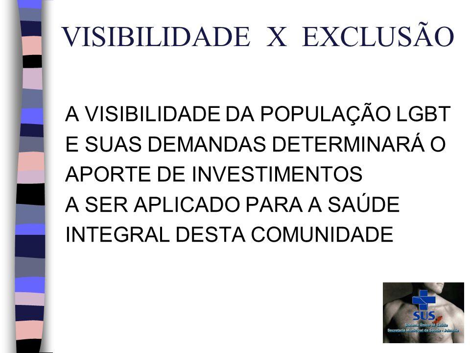 VISIBILIDADE X EXCLUSÃO A VISIBILIDADE DA POPULAÇÃO LGBT E SUAS DEMANDAS DETERMINARÁ O APORTE DE INVESTIMENTOS A SER APLICADO PARA A SAÚDE INTEGRAL DESTA COMUNIDADE