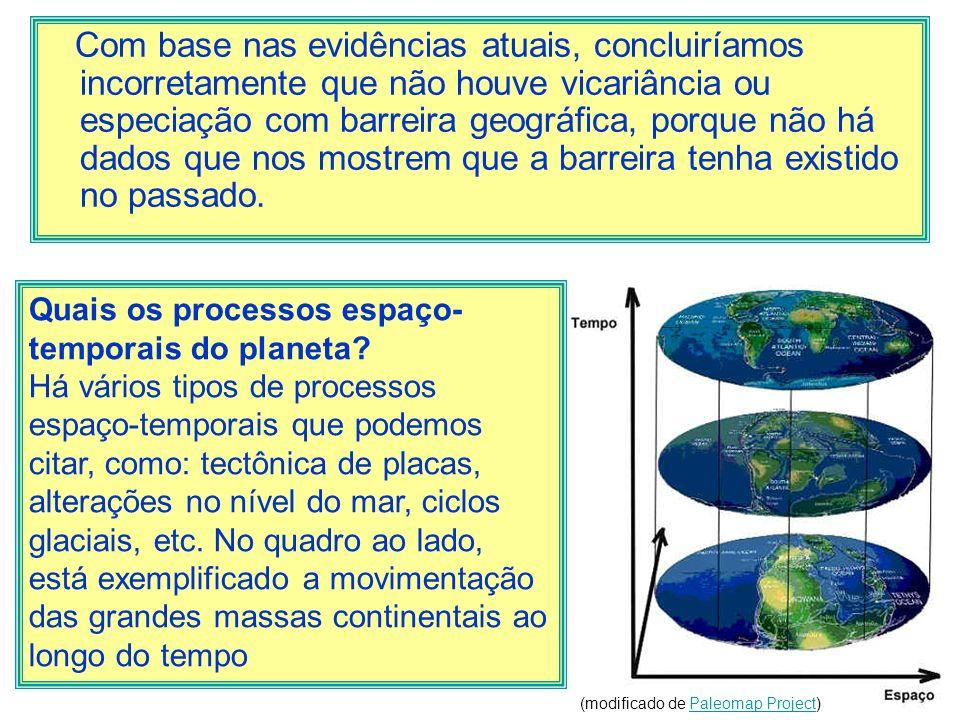 Com base nas evidências atuais, concluiríamos incorretamente que não houve vicariância ou especiação com barreira geográfica, porque não há dados que