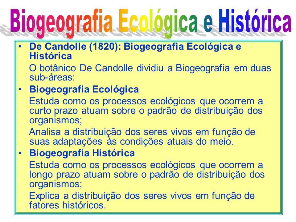 De Candolle (1820): Biogeografia Ecológica e Histórica O botânico De Candolle dividiu a Biogeografia em duas sub-áreas: Biogeografia Ecológica Estuda