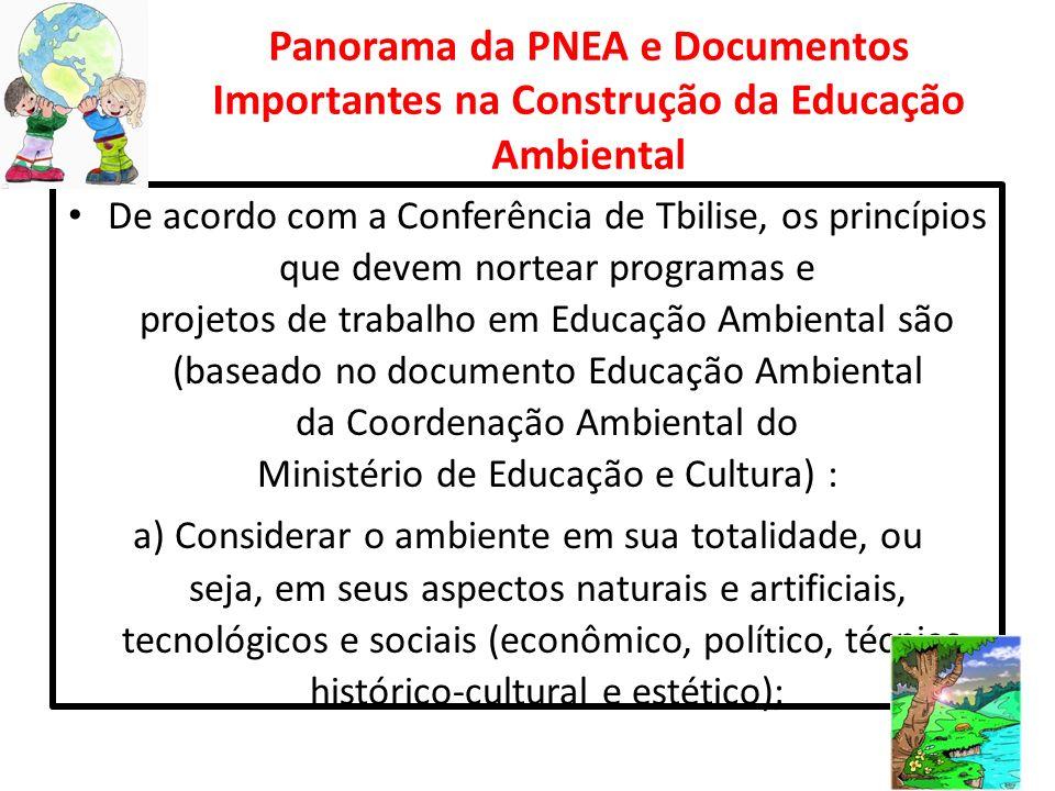 Panorama da PNEA e Documentos Importantes na Construção da Educação Ambiental De acordo com a Conferência de Tbilise, os princípios que devem nortear