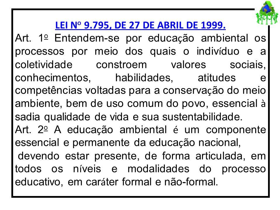 LEI N o 9.795, DE 27 DE ABRIL DE 1999. Art. 1 o Entendem-se por educa ç ão ambiental os processos por meio dos quais o indiv í duo e a coletividade co