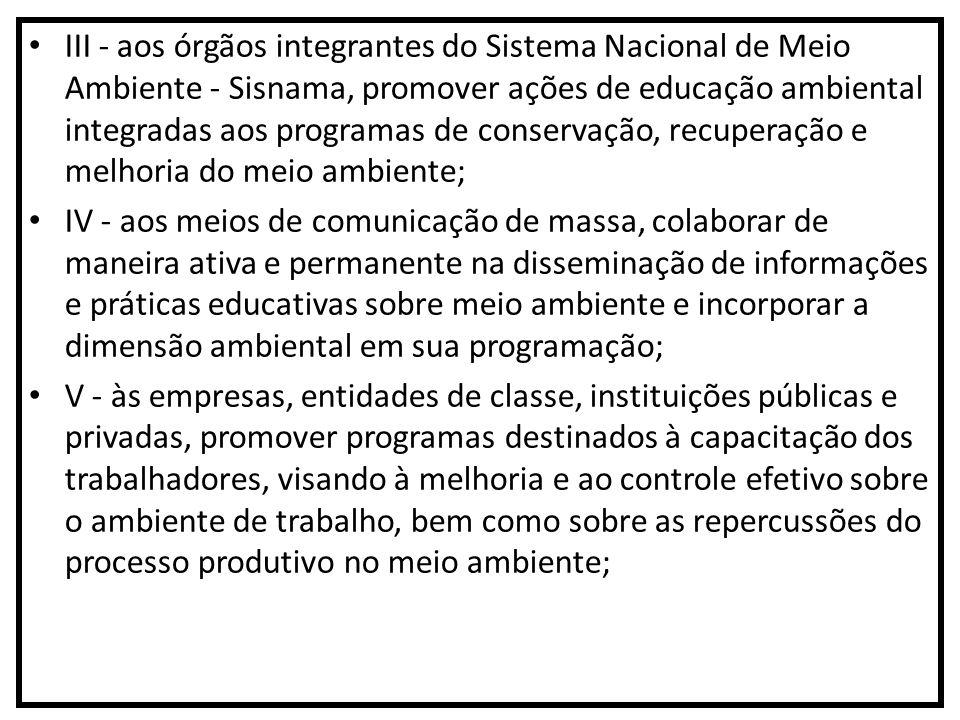 III - aos órgãos integrantes do Sistema Nacional de Meio Ambiente - Sisnama, promover ações de educação ambiental integradas aos programas de conserva
