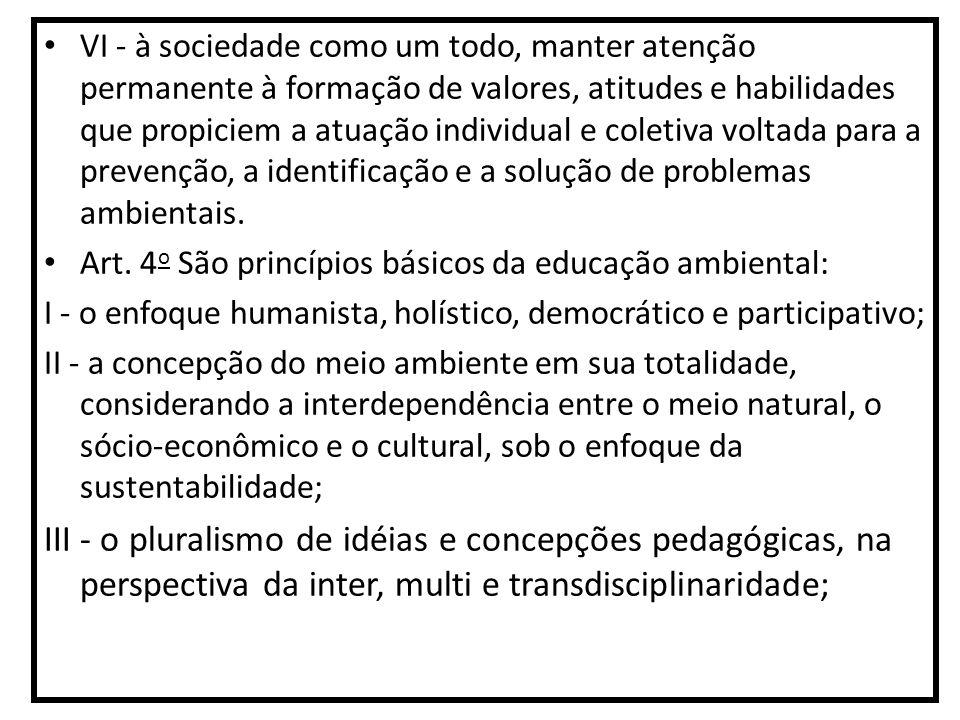 VI - à sociedade como um todo, manter atenção permanente à formação de valores, atitudes e habilidades que propiciem a atuação individual e coletiva v