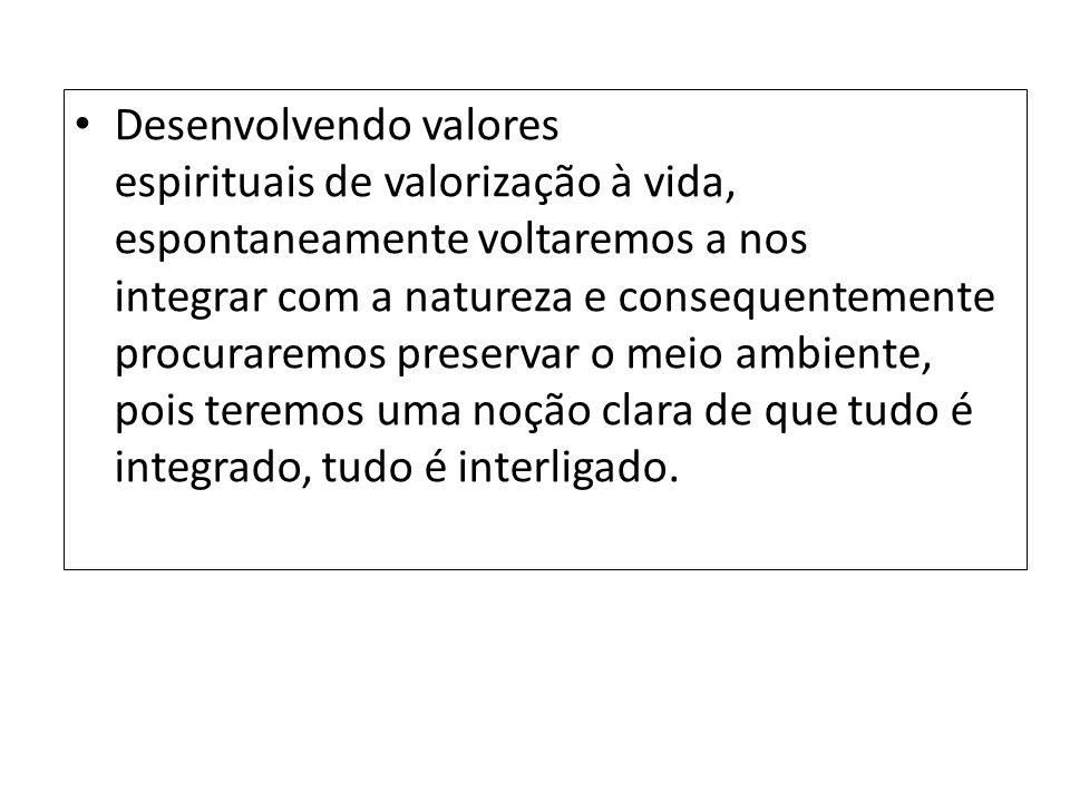 Desenvolvendo valores espirituais de valorização à vida, espontaneamente voltaremos a nos integrar com a natureza e consequentemente procuraremos pres