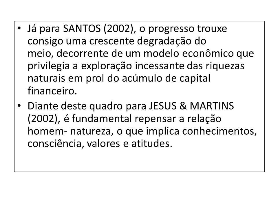 Já para SANTOS (2002), o progresso trouxe consigo uma crescente degradação do meio, decorrente de um modelo econômico que privilegia a exploração ince