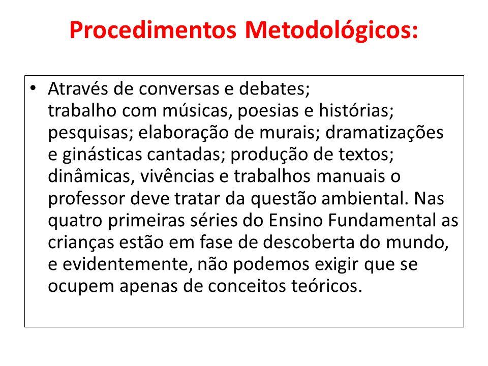 Procedimentos Metodológicos: Através de conversas e debates; trabalho com músicas, poesias e histórias; pesquisas; elaboração de murais; dramatizações