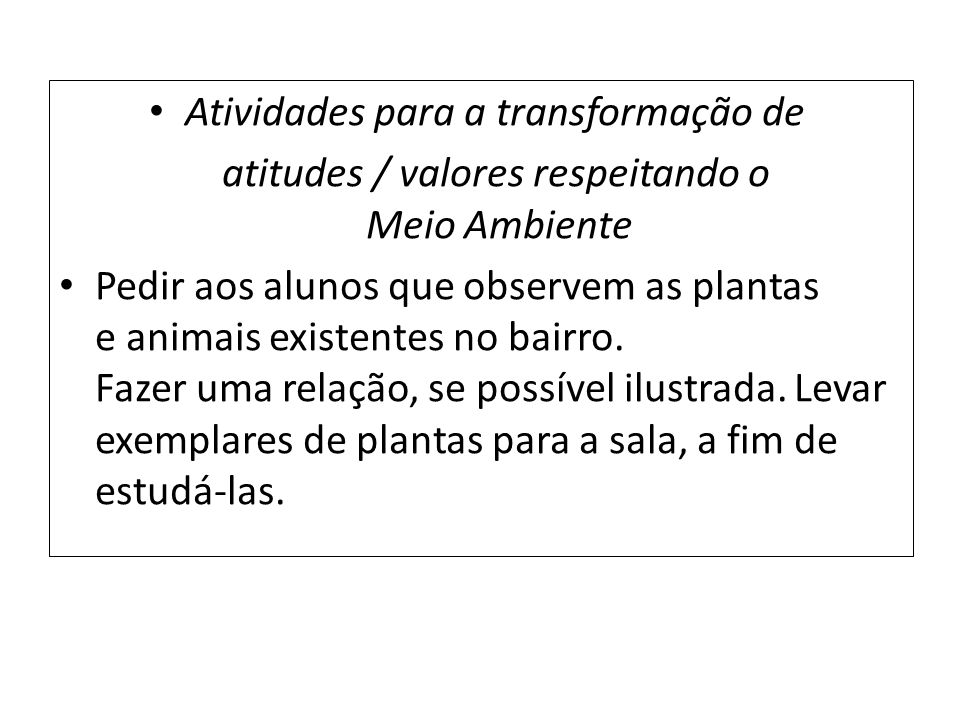 Atividades para a transformação de atitudes / valores respeitando o Meio Ambiente Pedir aos alunos que observem as plantas e animais existentes no bai