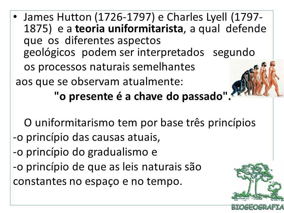 James Hutton (1726-1797) e Charles Lyell (1797- 1875) e a teoria uniformitarista, a qual defende que os diferentes aspectos geológicos podem ser inter