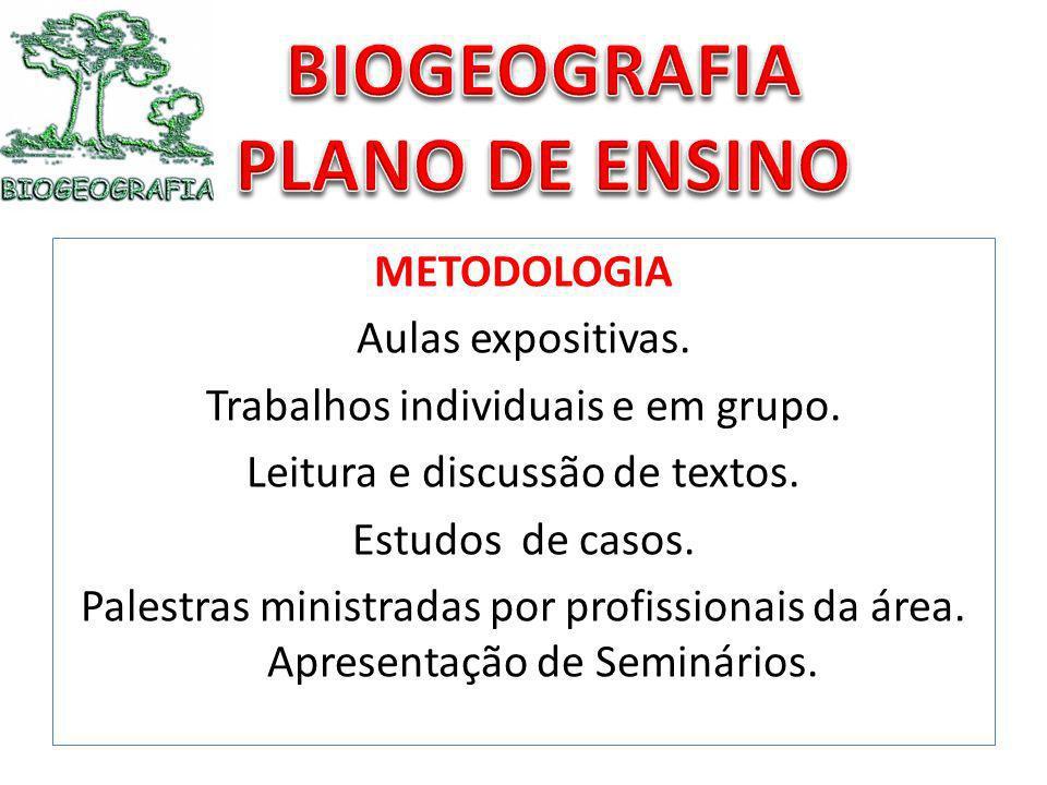 METODOLOGIA Aulas expositivas. Trabalhos individuais e em grupo. Leitura e discussão de textos. Estudos de casos. Palestras ministradas por profission