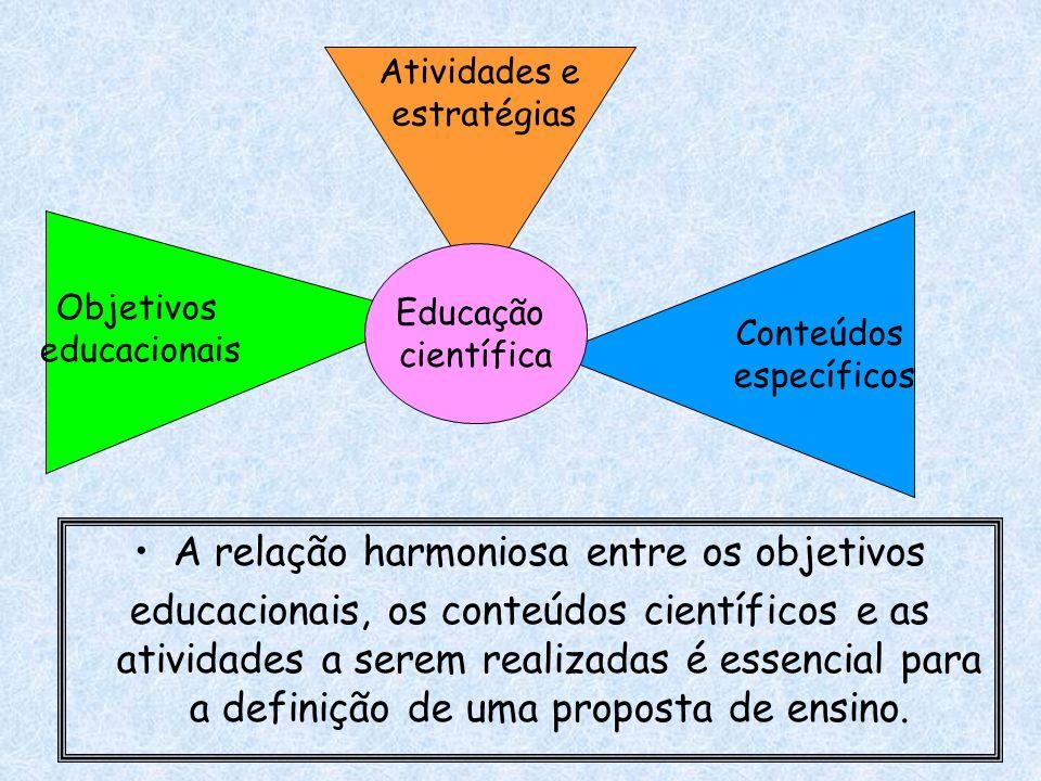 A relação harmoniosa entre os objetivos educacionais, os conteúdos científicos e as atividades a serem realizadas é essencial para a definição de uma