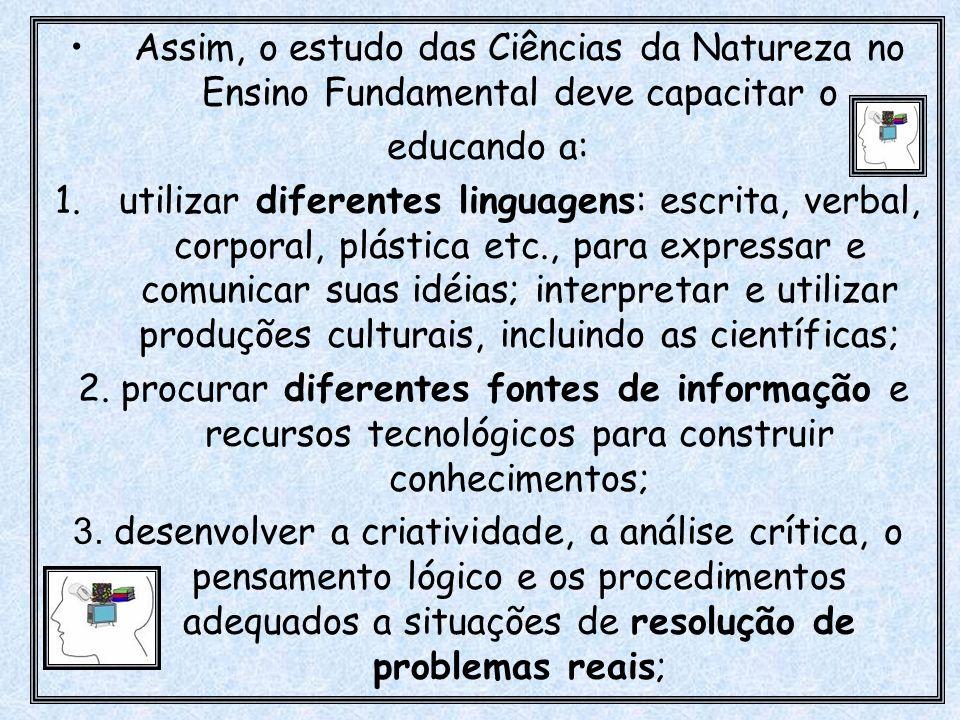 Assim, o estudo das Ciências da Natureza no Ensino Fundamental deve capacitar o educando a: 1.utilizar diferentes linguagens: escrita, verbal, corpora