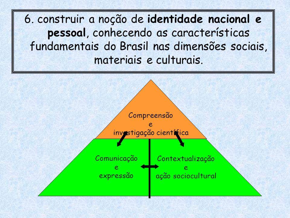 6. construir a noção de identidade nacional e pessoal, conhecendo as características fundamentais do Brasil nas dimensões sociais, materiais e cultura