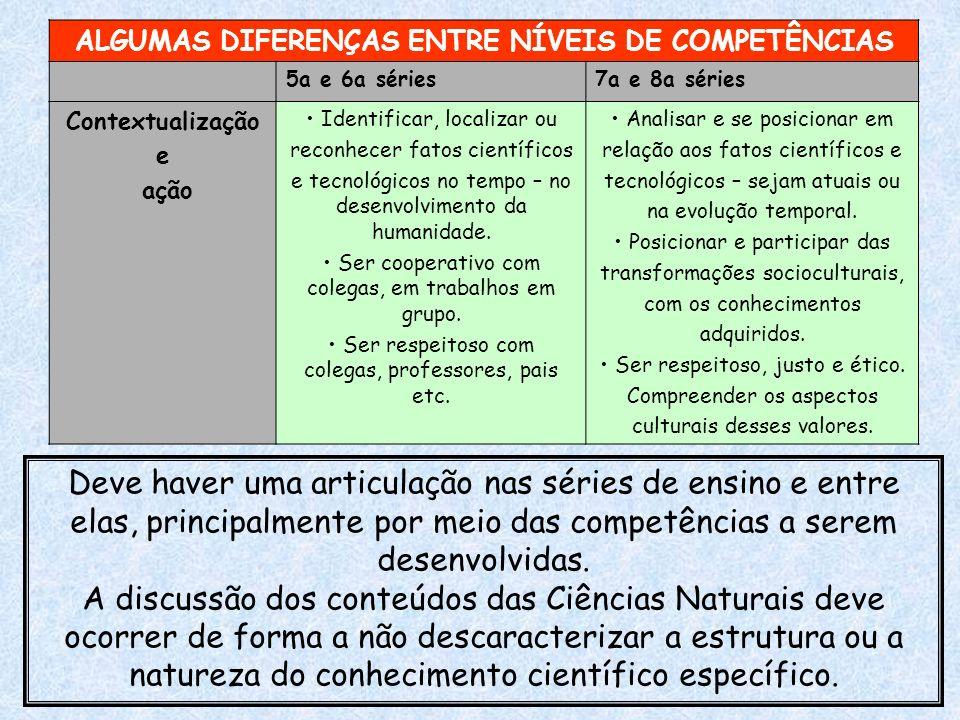 ALGUMAS DIFERENÇAS ENTRE NÍVEIS DE COMPETÊNCIAS 5a e 6a séries7a e 8a séries Contextualização e ação Identificar, localizar ou reconhecer fatos cientí