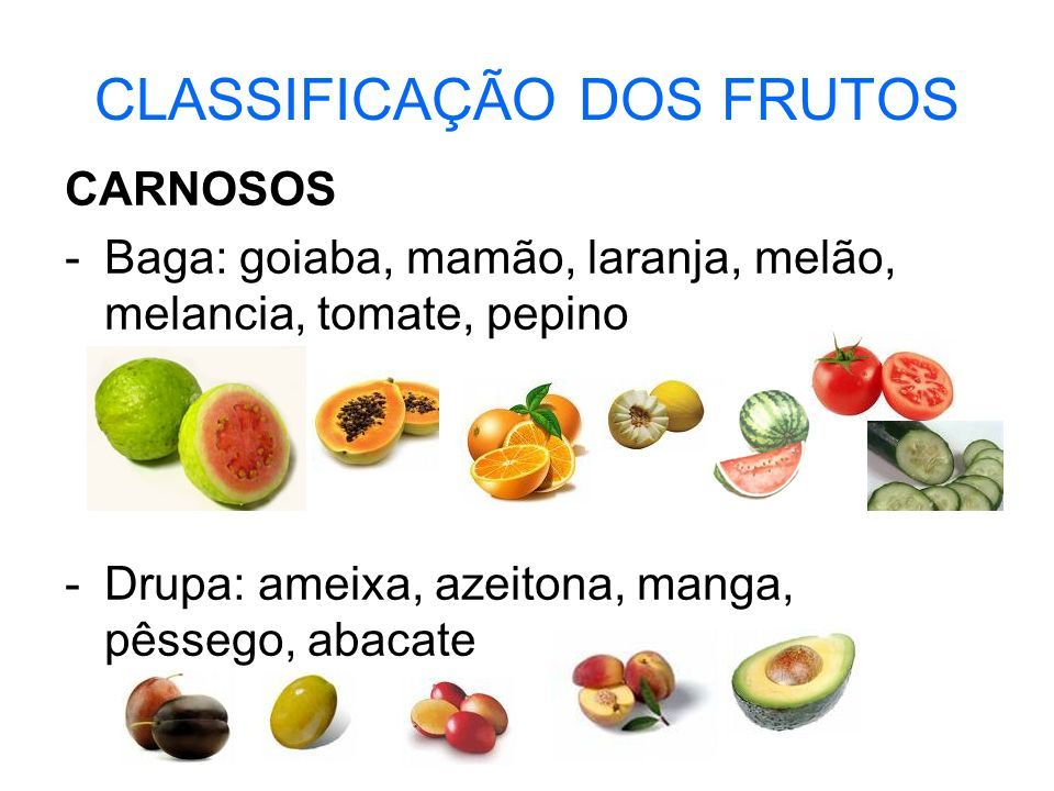 CLASSIFICAÇÃO DOS FRUTOS CARNOSOS -Baga: goiaba, mamão, laranja, melão, melancia, tomate, pepino -Drupa: ameixa, azeitona, manga, pêssego, abacate