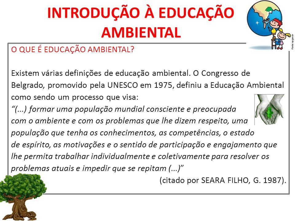 INTRODUÇÃO À EDUCAÇÃO AMBIENTAL O QUE É EDUCAÇÃO AMBIENTAL? Existem várias definições de educação ambiental. O Congresso de Belgrado, promovido pela U