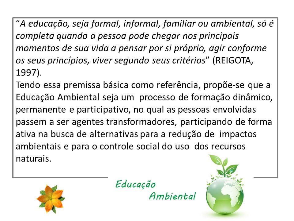 A educação, seja formal, informal, familiar ou ambiental, só é completa quando a pessoa pode chegar nos principais momentos de sua vida a pensar por s