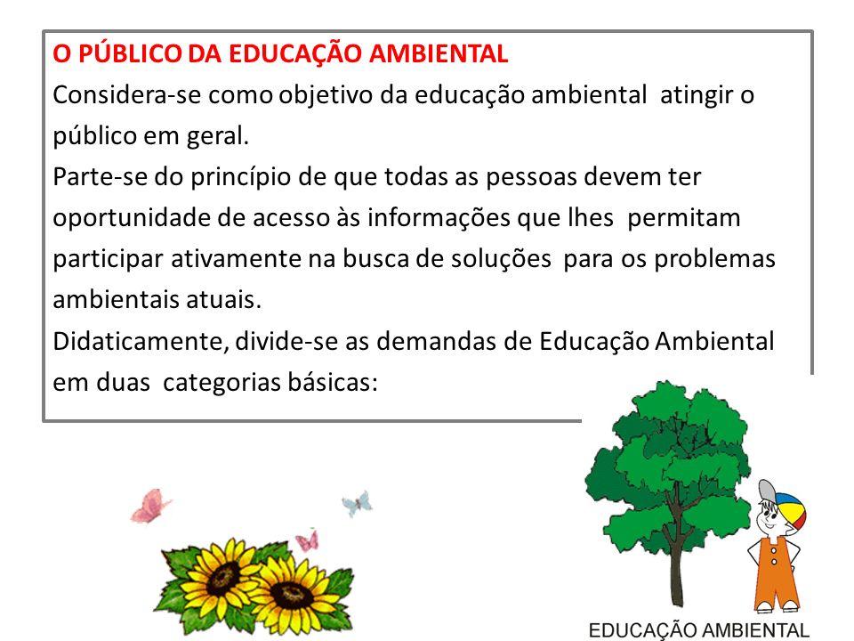 O PÚBLICO DA EDUCAÇÃO AMBIENTAL Considera-se como objetivo da educação ambiental atingir o público em geral. Parte-se do princípio de que todas as pes