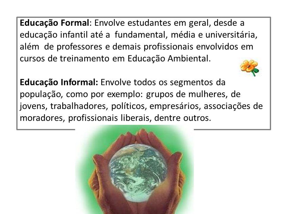 Educação Formal: Envolve estudantes em geral, desde a educação infantil até a fundamental, média e universitária, além de professores e demais profiss