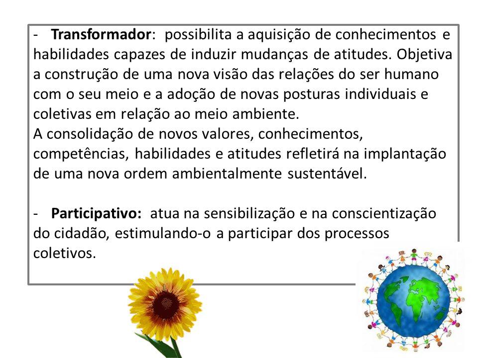 -Transformador: possibilita a aquisição de conhecimentos e habilidades capazes de induzir mudanças de atitudes. Objetiva a construção de uma nova visã
