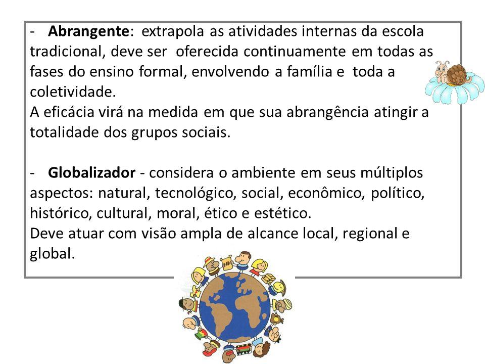 -Abrangente: extrapola as atividades internas da escola tradicional, deve ser oferecida continuamente em todas as fases do ensino formal, envolvendo a