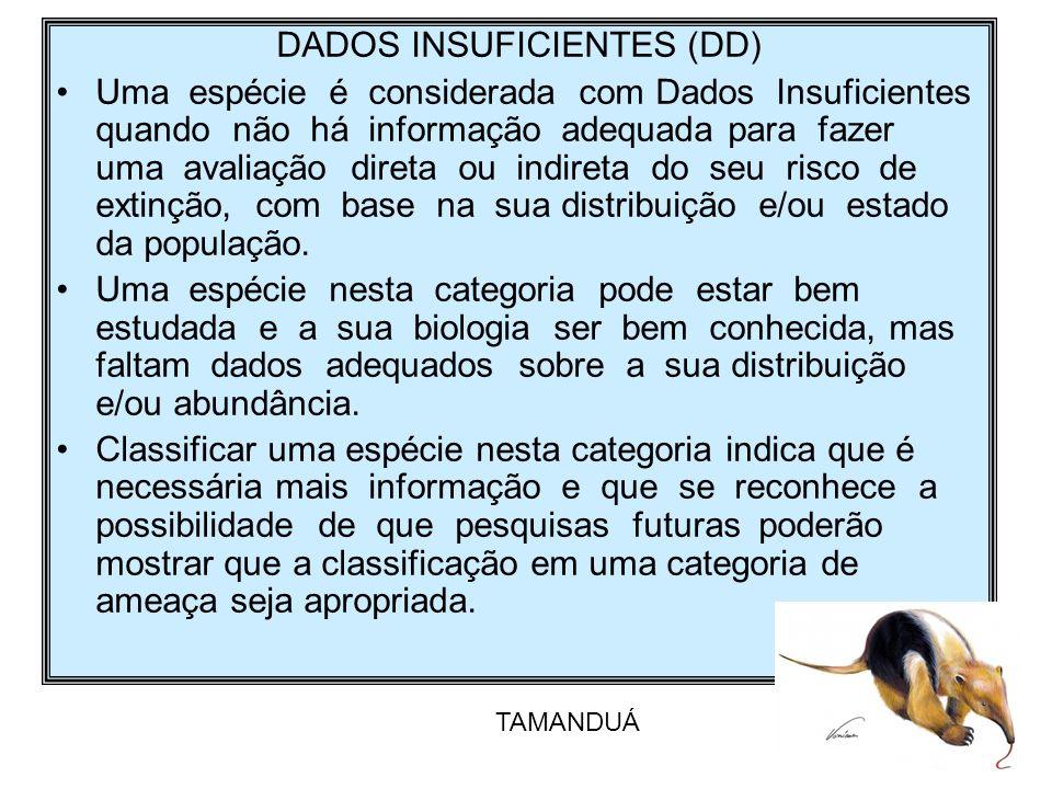DADOS INSUFICIENTES (DD) Uma espécie é considerada com Dados Insuficientes quando não há informação adequada para fazer uma avaliação direta ou indire