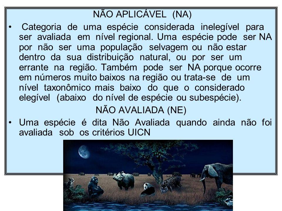 NÃO APLICÁVEL (NA) Categoria de uma espécie considerada inelegível para ser avaliada em nível regional. Uma espécie pode ser NA por não ser uma popula