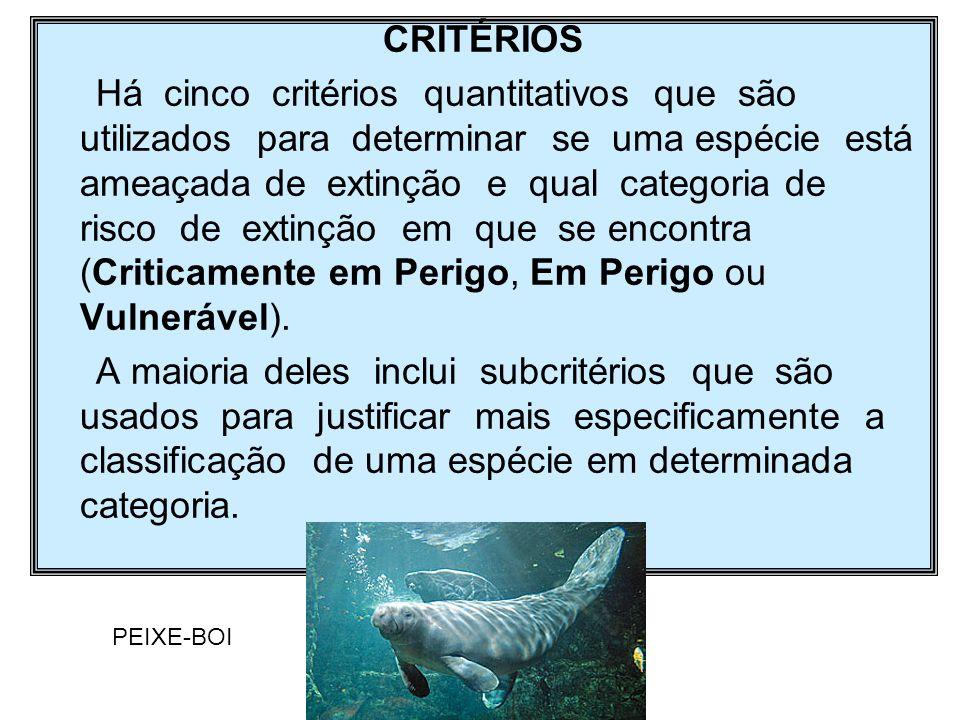 CRITÉRIOS Há cinco critérios quantitativos que são utilizados para determinar se uma espécie está ameaçada de extinção e qual categoria de risco de ex