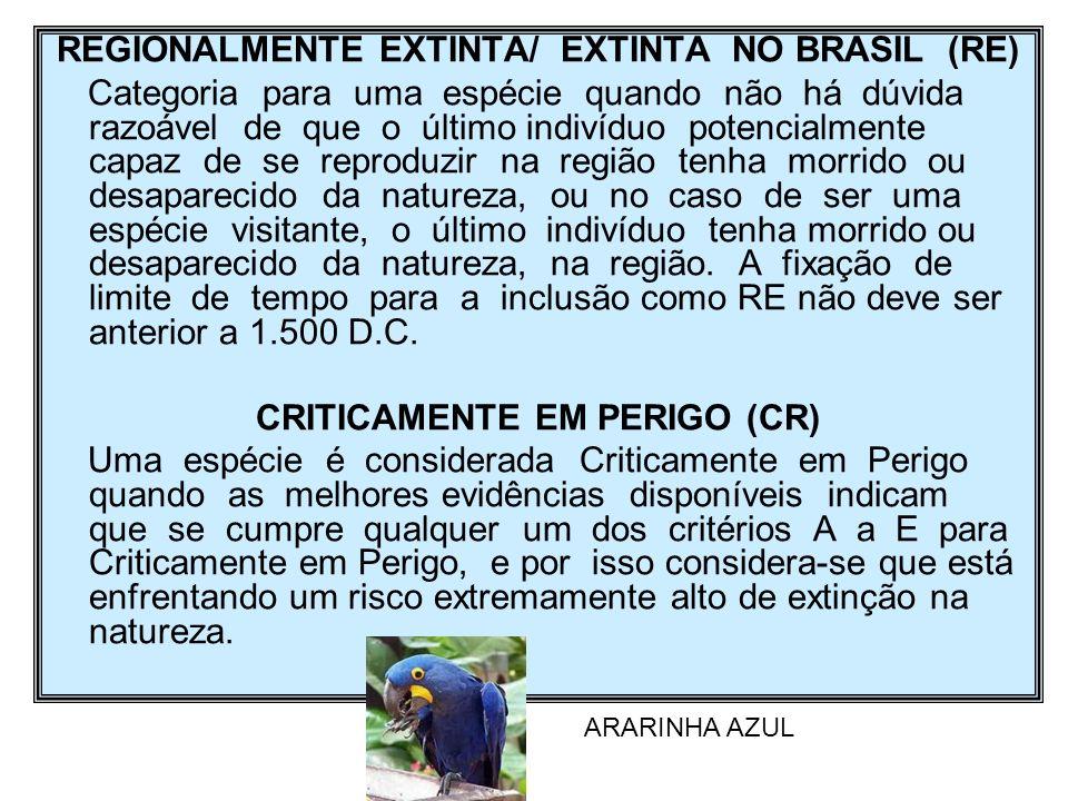 REGIONALMENTE EXTINTA/ EXTINTA NO BRASIL (RE) Categoria para uma espécie quando não há dúvida razoável de que o último indivíduo potencialmente capaz
