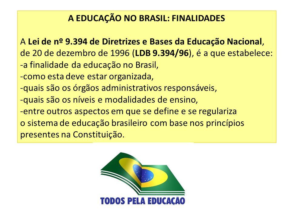 A EDUCAÇÃO NO BRASIL: FINALIDADES A Lei de nº 9.394 de Diretrizes e Bases da Educação Nacional, de 20 de dezembro de 1996 (LDB 9.394/96), é a que esta