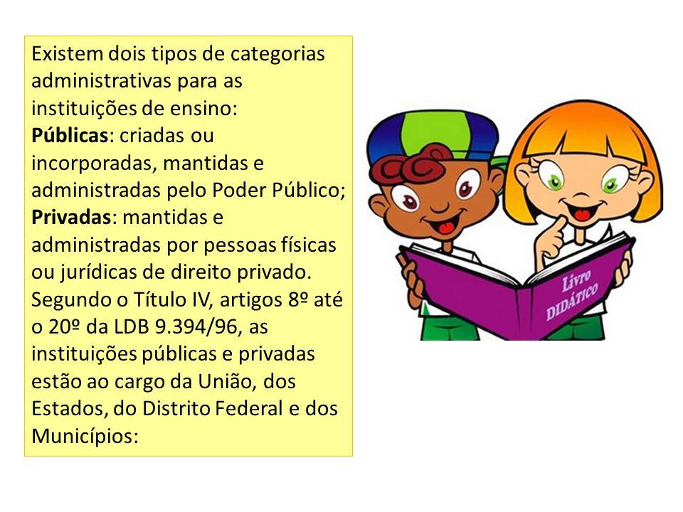 Existem dois tipos de categorias administrativas para as instituições de ensino: Públicas: criadas ou incorporadas, mantidas e administradas pelo Pode