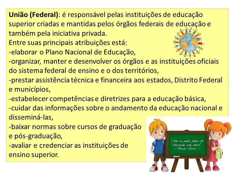 União (Federal): é responsável pelas instituições de educação superior criadas e mantidas pelos órgãos federais de educação e também pela iniciativa p