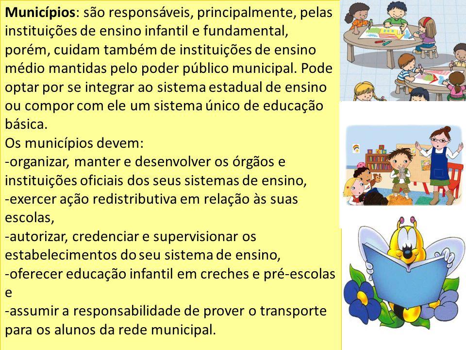 Municípios: são responsáveis, principalmente, pelas instituições de ensino infantil e fundamental, porém, cuidam também de instituições de ensino médi