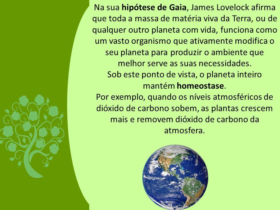 Na sua hipótese de Gaia, James Lovelock afirma que toda a massa de matéria viva da Terra, ou de qualquer outro planeta com vida, funciona como um vast