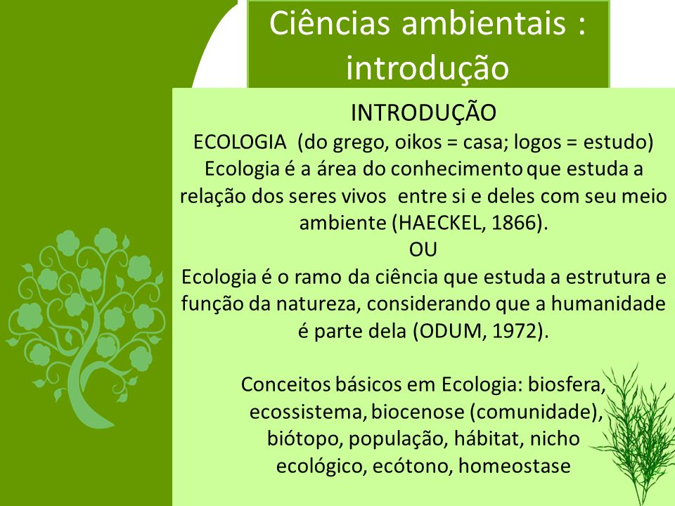 Ciências ambientais : introdução INTRODUÇÃO ECOLOGIA (do grego, oikos = casa; logos = estudo) Ecologia é a área do conhecimento que estuda a relação d