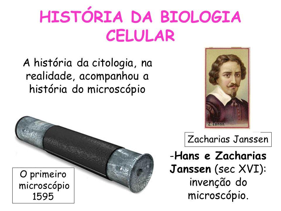 HISTÓRIA DA BIOLOGIA CELULAR -Hans e Zacharias Janssen (sec XVI): invenção do microscópio. A história da citologia, na realidade, acompanhou a históri