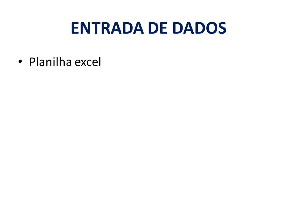Planilha excel ENTRADA DE DADOS