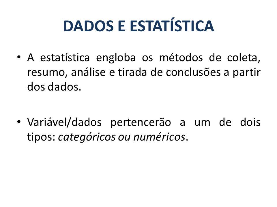 A estatística engloba os métodos de coleta, resumo, análise e tirada de conclusões a partir dos dados. Variável/dados pertencerão a um de dois tipos: