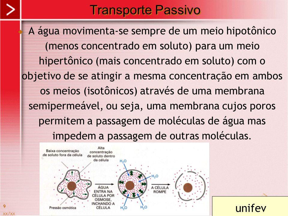 xx/xx 9 Transporte Passivo A água movimenta-se sempre de um meio hipotônico (menos concentrado em soluto) para um meio hipertônico (mais concentrado e