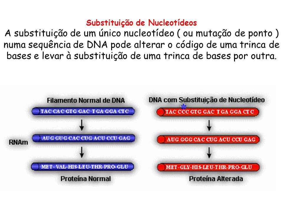 Substituição de Nucleotídeos A substituição de um único nucleotídeo ( ou mutação de ponto ) numa sequência de DNA pode alterar o código de uma trinca
