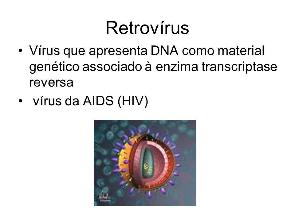 Retrovírus Vírus que apresenta DNA como material genético associado à enzima transcriptase reversa vírus da AIDS (HIV)
