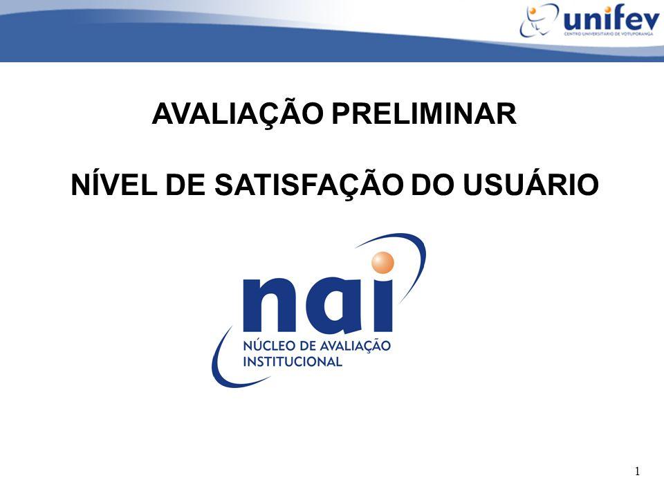 1 AVALIAÇÃO PRELIMINAR NÍVEL DE SATISFAÇÃO DO USUÁRIO