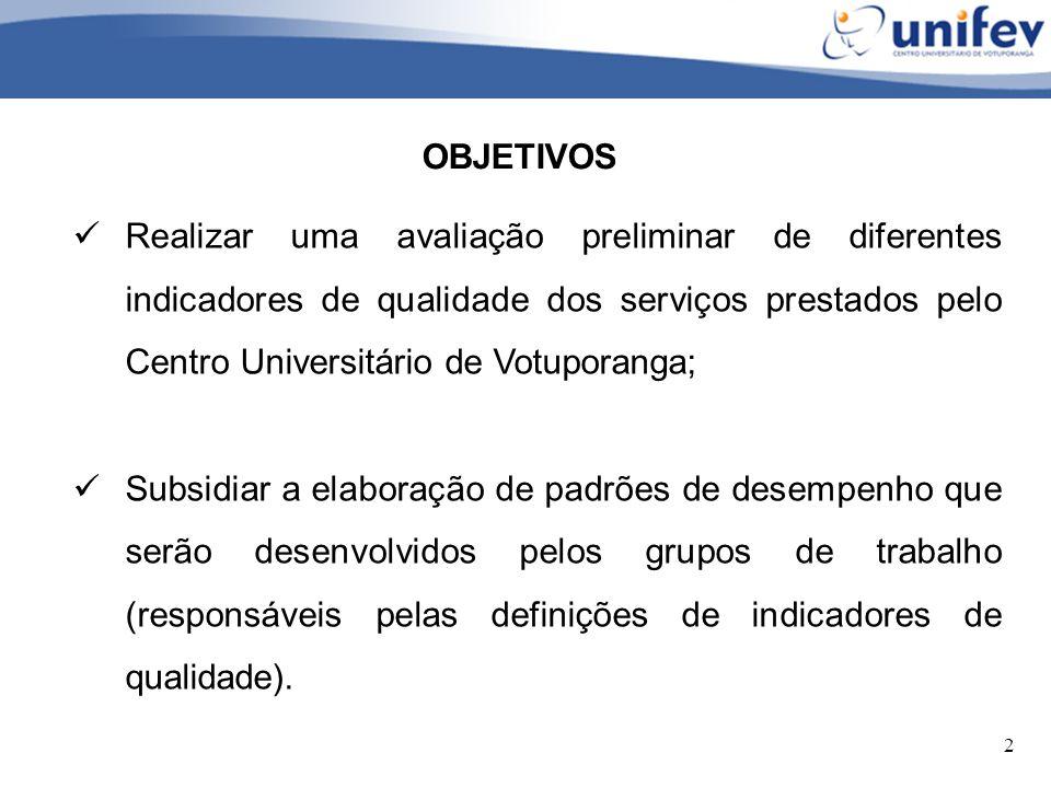 2 OBJETIVOS Realizar uma avaliação preliminar de diferentes indicadores de qualidade dos serviços prestados pelo Centro Universitário de Votuporanga;