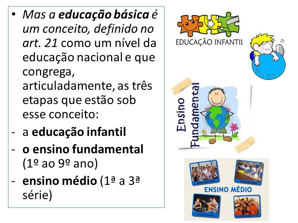 Mas a educação básica é um conceito, definido no art. 21 como um nível da educação nacional e que congrega, articuladamente, as três etapas que estão