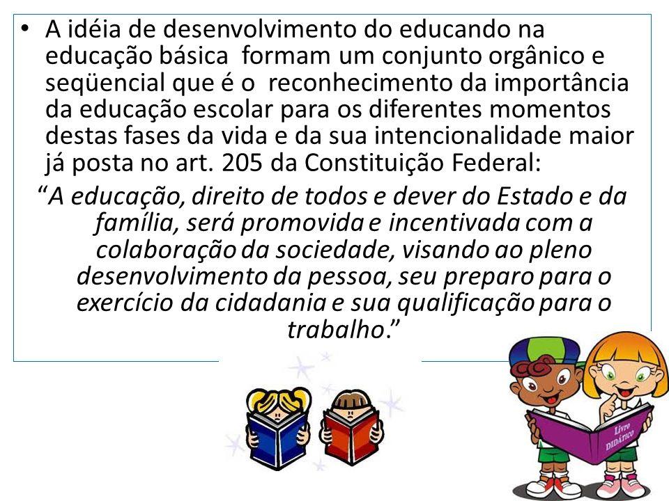 A idéia de desenvolvimento do educando na educação básica formam um conjunto orgânico e seqüencial que é o reconhecimento da importância da educação e