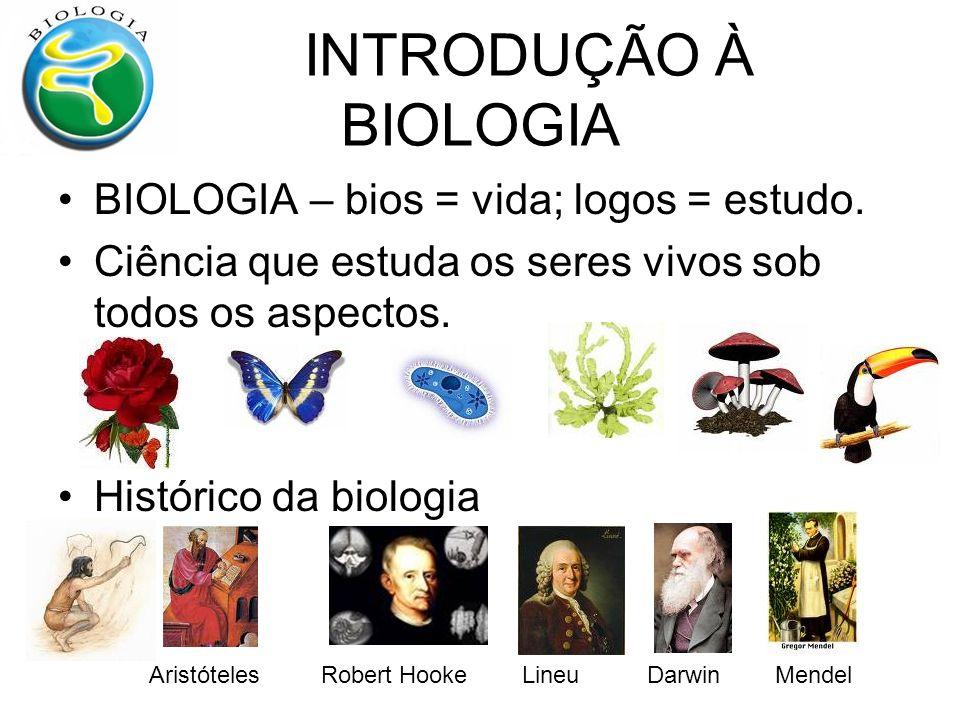 INTRODUÇÃO À BIOLOGIA BIOLOGIA – bios = vida; logos = estudo. Ciência que estuda os seres vivos sob todos os aspectos. Histórico da biologia Aristótel