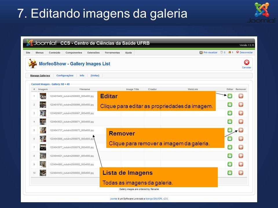 7. Editando imagens da galeria Editar Clique para editar as propriedades da imagem. Remover Clique para remover a imagem da galeria. Lista de Imagens