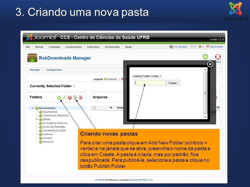 3. Criando uma nova pasta Criando novas pastas Para criar uma pasta clique em Add New Folder (símbolo + verde) e na janela que se abre, preenche o nom