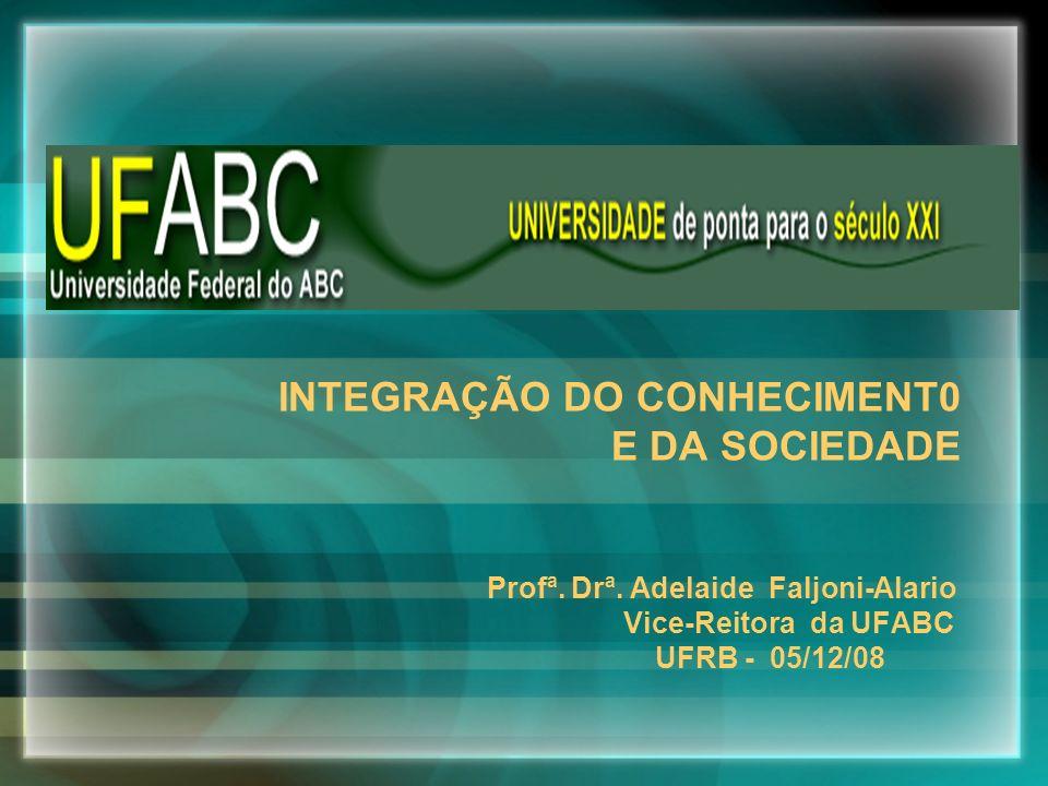 INTEGRAÇÃO DO CONHECIMENT0 E DA SOCIEDADE Profª. Drª. Adelaide Faljoni-Alario Vice-Reitora da UFABC UFRB - 05/12/08