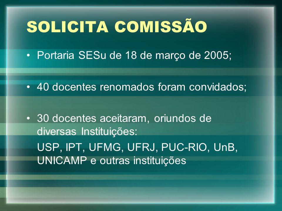 SOLICITA COMISSÃO Portaria SESu de 18 de março de 2005; 40 docentes renomados foram convidados; 30 docentes aceitaram, oriundos de diversas Instituiçõ